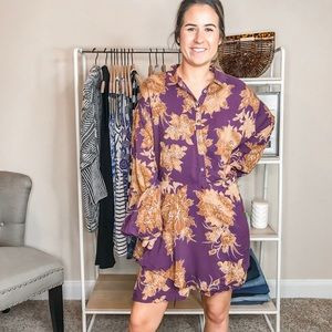 Free People Oversized Floral Long Sleeve Dress